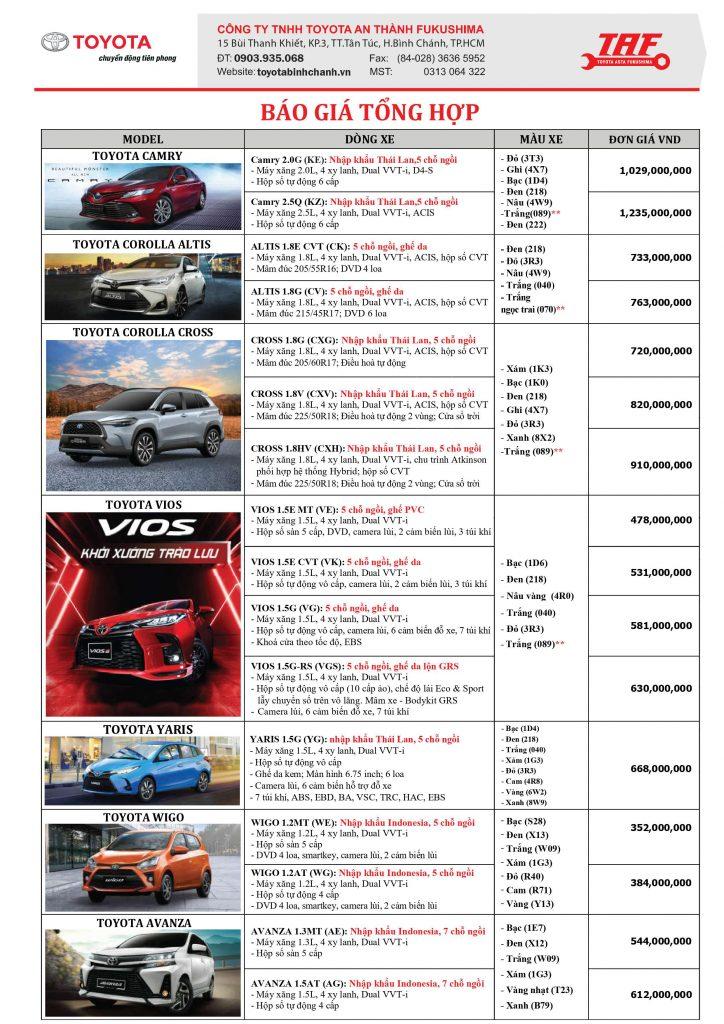 Bảng giá xe mới nhất tại Toyota bình chánh.- Toyota An Thành Fukushima