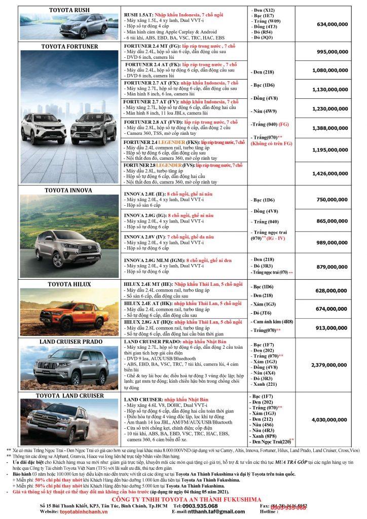 Bảng giá xe mới nhất tại Toyota Bình Chánh - Toyota An Thành Fukushima.